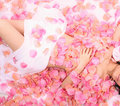 Asia girl in flower an pink flowers Stock Photography