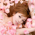 Asia girl pink flowers Stock Images