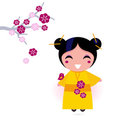 Asia girl in yellow kimono Stock Image