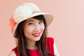Asia gril red lip Royalty Free Stock Image