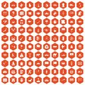 100 Asia icons hexagon orange
