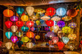 Asia lantern on street market hoi an city vietnam Royalty Free Stock Images