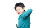 Asia little boy excited isolated on white Stock Photos