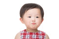 Asia little girl pout lip isolated on white Stock Photo