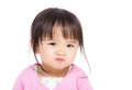 Asia little girl pout lip isolated on white Stock Images