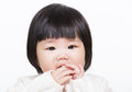 Asia little girl suck finger isolated on white Stock Photo