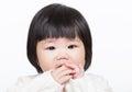 Asia little girl suck finger isolated on white Stock Photo