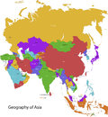 Asia map colorful with countries and capital cities Royalty Free Stock Photos