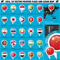 Asia map and flags pointer icons set of of asiatic territory flat globe vector illustration in cs eps contain transparency Stock Image