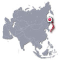 Asia Map with Japan Royalty Free Stock Photo