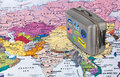 Asia map and travel case with stickers (my photos) Royalty Free Stock Photo