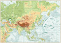 Asia Physical Map with Rivers, Lakes and Elevations Royalty Free Stock Photo