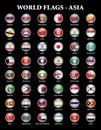 Asia states flags Royalty Free Stock Photo