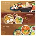 Asia street food web banner , thai food , japanese food