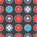 Asia style seamless pattern with red and blue Japanese ornamental flowers and geometrical elements on black background