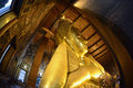 Asia thailand bangkok the reclining buddha in the temple of wat pho in the city of in in southeastasia Royalty Free Stock Photography