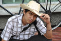 Asia Thailand Man Cowboy Sit Smile Royalty Free Stock Photos