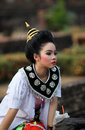 Asia thailand sukhothai temple wat sa si tradition traditional thai dancers at the at the satchanalai chaliang historical park in Royalty Free Stock Photography