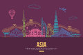 Asia travel background with place for text. Isolated Asian outlined sightseeings and symbols. Skyline detailed Royalty Free Stock Photo