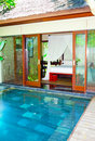 Asia. A tropical country house before pool Stock Photo