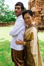 Asia Wedding couple in Thai suit Stock Photo