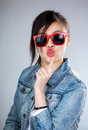 Asia woman pout lip with sunglasses Royalty Free Stock Photo