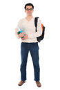 Asian adult student with books full body in casual wear school bag carrying text standing isolated on white background male Royalty Free Stock Images