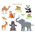 Asian Animals Fauna Species. Camel, Panda, Tiger,