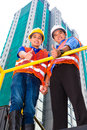 Asian architect and supervisor on construction site chinese a Stock Photos