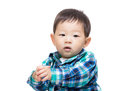 Asian baby boy clapping hand isolated on white Royalty Free Stock Photos