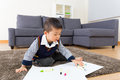image photo : Asian baby boy drawing picture