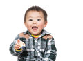 Asian baby boy feeling excited Stock Photography