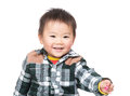 Asian baby boy give hand to you Royalty Free Stock Photo
