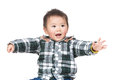 Asian baby boy hand up Stock Images