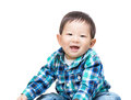 Asian baby boy laugh isolated on white Royalty Free Stock Images