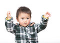 Asian baby boy raise up hand Stock Image