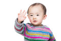 Asian baby boy say hi isolated on white Royalty Free Stock Photography