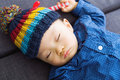 Asian baby boy sleeping at home Royalty Free Stock Photography