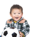 Asian baby boy with soccer ball Royalty Free Stock Photography