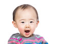 Asian baby boy yelling isolated on white Stock Photography