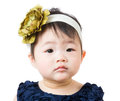 Asian baby feel curiosity isolated on white Royalty Free Stock Photo
