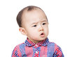 Asian baby feel hesitate isolated on white Royalty Free Stock Photos
