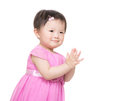 Asian baby girl clapping hand Royalty Free Stock Photography