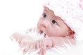 Asian baby girl close up with white background Royalty Free Stock Photo