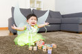 Asian baby girl crying with halloween party dressing Royalty Free Stock Photo