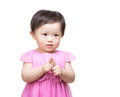 Asian baby girl finger touch together Stock Photography