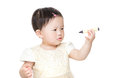 Asian baby girl holding crayon Royalty Free Stock Photography
