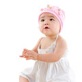 Asian baby girl looking up portrait of cute isolated on white background Royalty Free Stock Photography