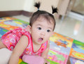 Asian baby girl portrait of surprise Royalty Free Stock Photos