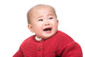 Asian baby girl shouting isolated on white Royalty Free Stock Photo